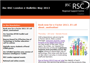 screenshot of May's e-Bulletin